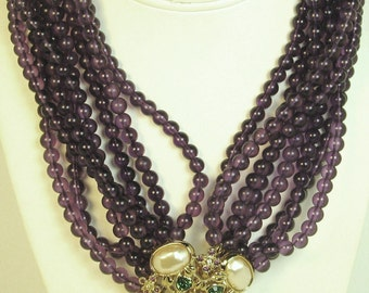 Liz Taylor for Avon Faux Pearl Forever Violets Necklace