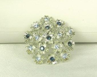 Vintage Silver Metal and Blue Rhinestone Floral Pin