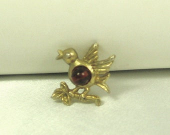 Vintage Red Glass Bird Pin