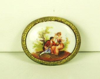 Vintage Painted on Porcelain Man and Woman Pin