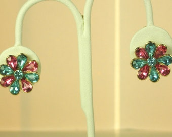 Vintage Star Pink and Blue Marquise Cut Jeweled Earrings