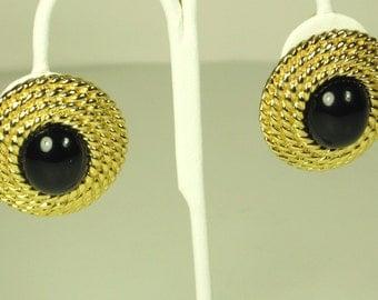 Vintage Ciner Black Cabochon Clip-back Earrings