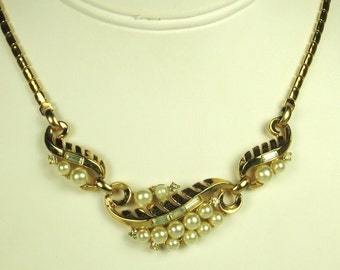 Vintage 1954 Trifari Faux Pearl and Rhinestone Necklace