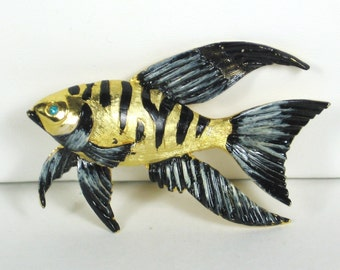 Vintage Hattie Carnegie Black and White Enamel Fish Pin