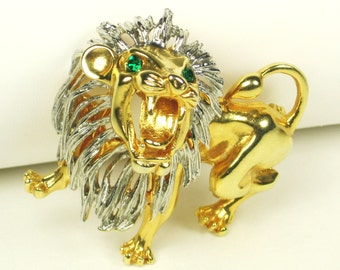 Vintage Gold Plated Metal Roaring Lion Figural Brooch