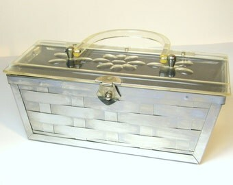 SALE!!! 1950s Vintage Lucite and Silver Tone Metal Purse