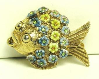 Hattie Carnegie Enamel Floral Fish Pin