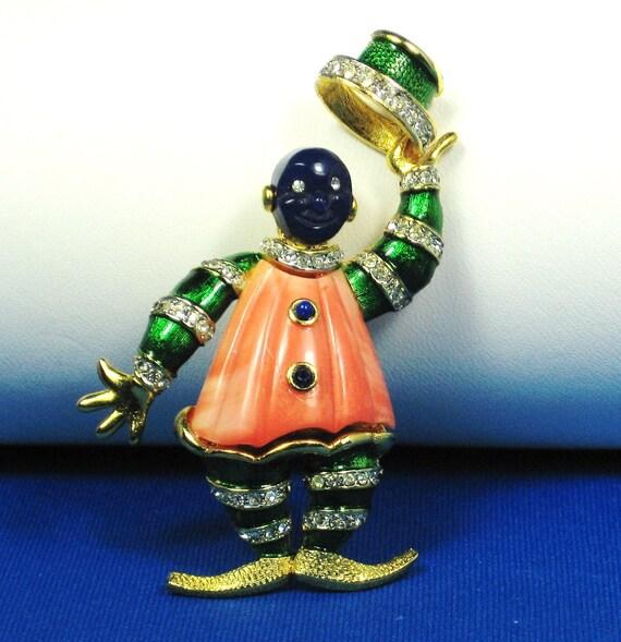 Hattie Carnegie Enamel Clown Pin
