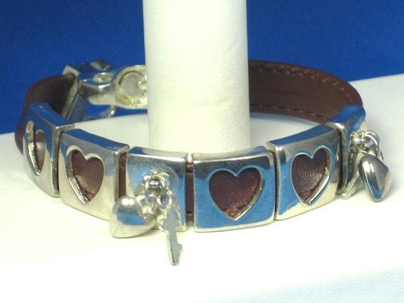 Silver Key to My Heart Leather Bracelet