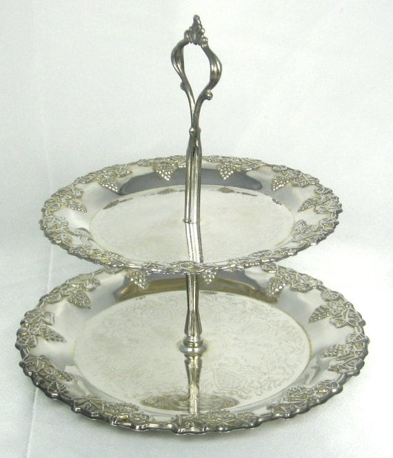 Vintage C.R.E.A. Design Milano Silver Floral Mint Tray