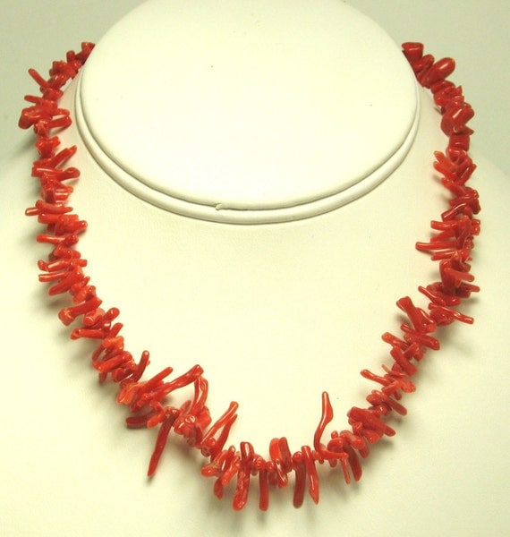 Vintage Coral Colored Glass Strand Necklace