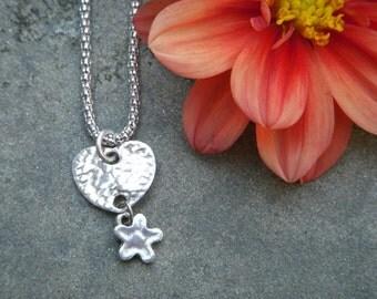 PMC Pebble heart dangle pendant