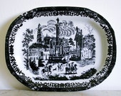 Antique Ironstone Transferware Platter - Black and White - SALE