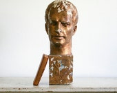 RESERVED for kjwcoe - Vintage Sculpture - Bust of a Man - Outsider Art Statue