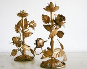 RESERVED - Pair of Vintage Italian Tole Candlesticks - Gold Gilt