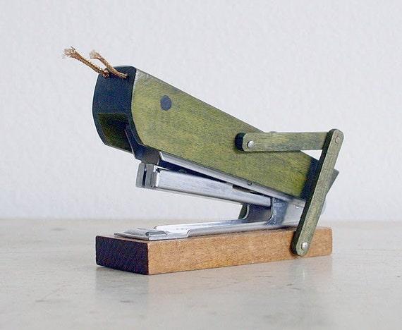 Vintage Wooden Stapler - Grasshopper