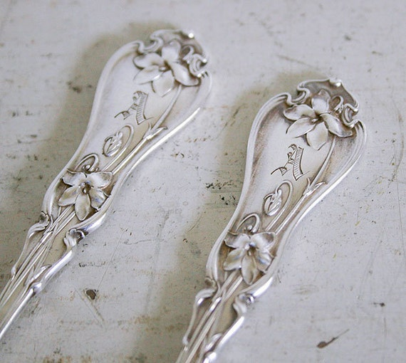 2 Antique Sterling Butter Spreaders - Daniel Low & Co. - A Monogram