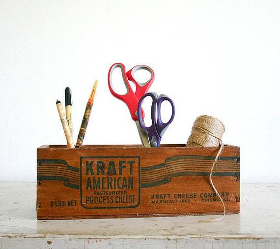 Vintage Wooden Cheese Crate - Kraft American