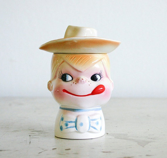 Vintage Egg Cup with Salt Shaker - Little Cowboy