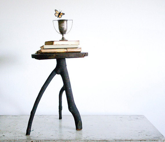 Vintage Woodland Side Table or Plant Stand