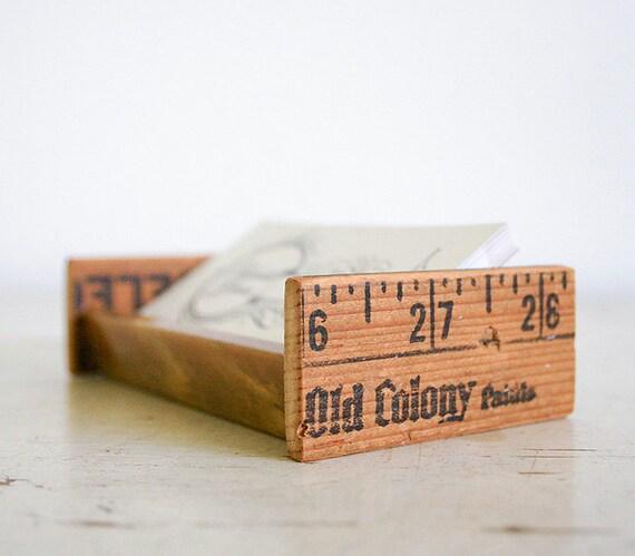 Desktop Business Card Holder - Upcycled Vintage Parts