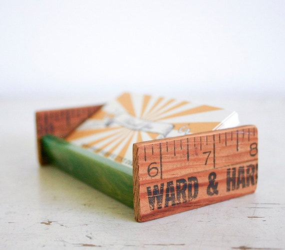 Desktop Business Card Holder - Upcycled Vintage Parts