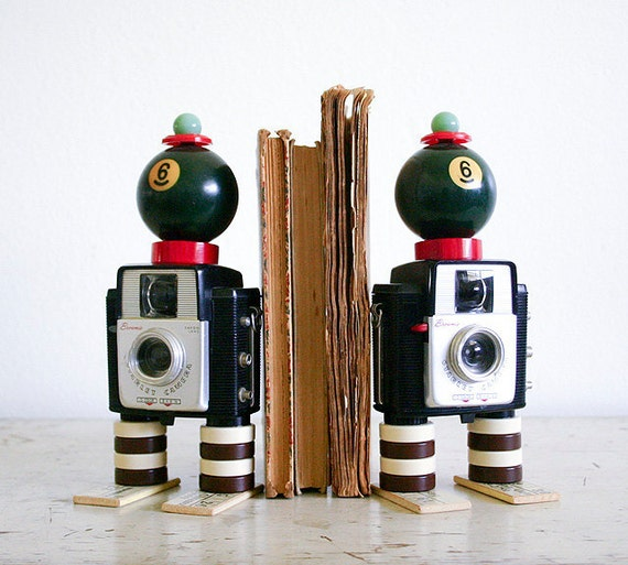 Vintage Camera Bookends - Found Objects Art Assemblage - Recycled Vintage Parts