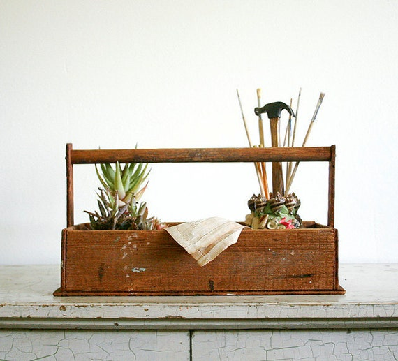 Vintage Wooden Tool Caddy or Garden Tote