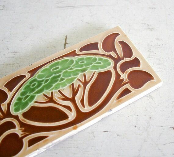 Antique Art Nouveau Art Tile