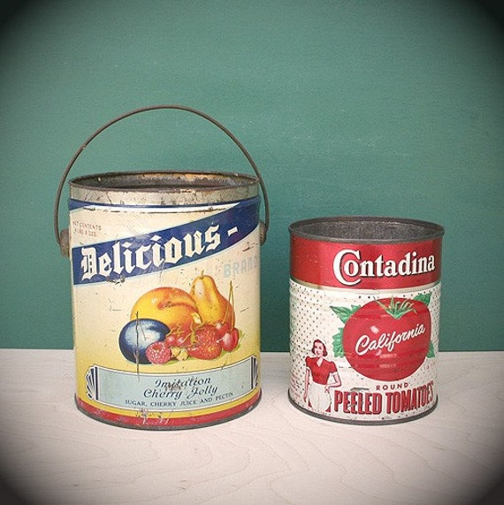 Pair of Vintage Tin Cans - Great Graphics