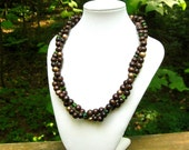 Necklace: Chunky Style, Wooden Beads and Czech Glass Necklace, Woodsy, Natural, Earth Necklace