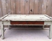 Vintage - Upcycled - Kalming Khaki - Rustic Mod Industrial - Inlaid Wooden Coffee Table - Drawer - Chic