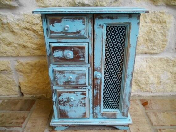 Shabby AQUA - Upcycled - Vintage Wooden Jewelry Box - Wardrobe