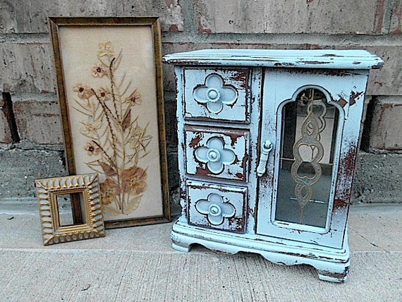 Upcycled French Sky Blue - Vintage Wooden Jewelry Box - Framed Dried Floral Picture - Cottage Chic Collection