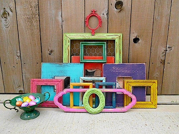 Upcycled - FESTIVAL of COLOR - Vintage Picture Frame - Mirror Collection - Boho CHIC - Bonus Urn - Compote