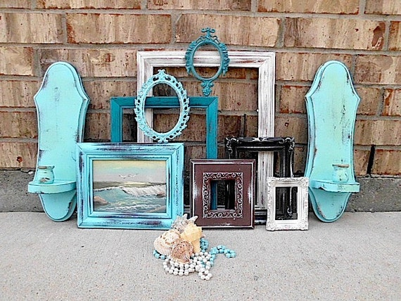 Vintage Upcycled Beachy Worn Turquoise Home Decor Picture Frame Wall Sconce Collection