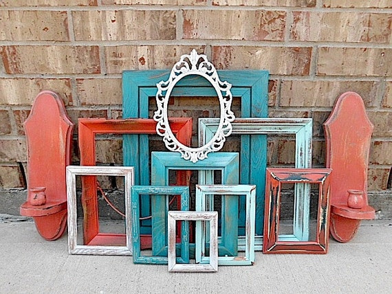 Vintage - Upcycled - Ocean Awaits - Coral Kick - Home Decor - Picture Frame - Wall Sconce Collection - Beachy CHIC