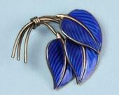 Norway Guilloche' Enamel Cobalt Blue Floral Modernist Brooch
