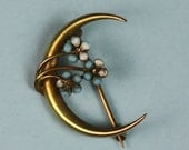 Vintage Victorian Pin 10K Gold and Enameled Flowers Honeymoon Pin