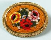 Vintage Mosaic Brooch Mustard Yellow Multi Color Florals Italy CIJ