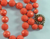 Vintage Coral Orange Beaded Necklace 1960s Mad Men Era