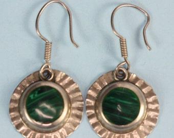 Malachite Earrings Sterling Pierced Dangle Mexico