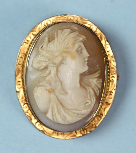 Victorian Shell Cameo 10K Gold Carved Shell Cameo Goddess Demeter Ceres