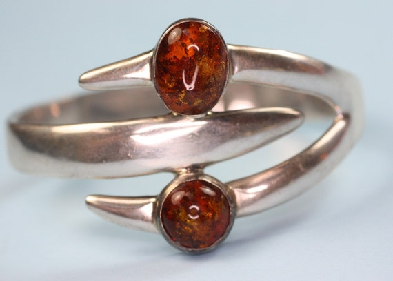 RESERVED Listing Vintage Cuff Bracelet Sterling Amber Modernist Taxco Mexico