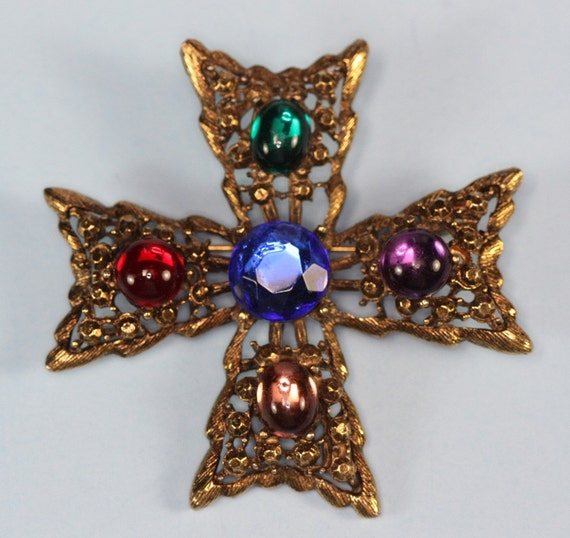 Faux Gemstone Maltese Cross Vintage Brooch Multi Color