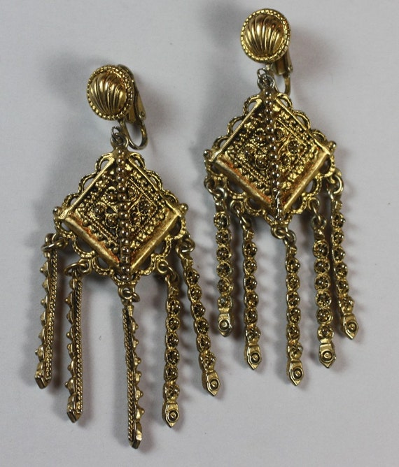 RESERVED for CF...Vintage Dangle Earrings Etruscan Revival Style Hollycraft