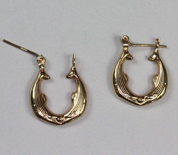 14k Yellow Gold Kissing Dolphin Hoop Earrings Pierced Ears