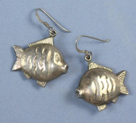 Puffy Fish Earrings Sterling Silver Dangle Pierced