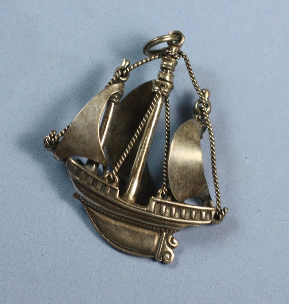 Vintage Ship Pendant Galleon Silver Signed Napier