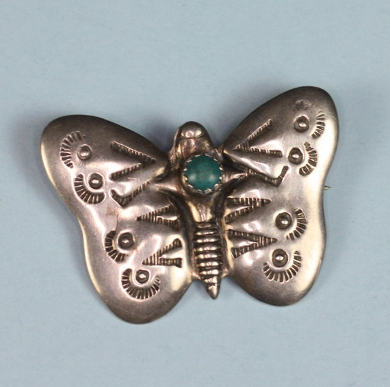 Vintage Butterfly Pin Brooch Sterling Turquoise NA Style